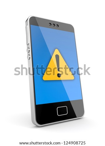 Phone with attention icon - stock photo