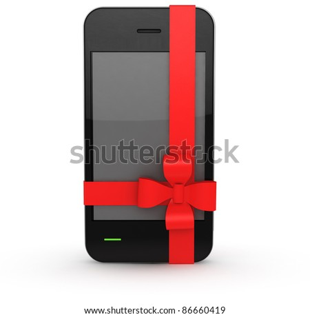 phone with bow on white background - stock photo
