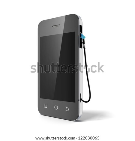 Phone with gas nozzle isolated on a white background - stock photo
