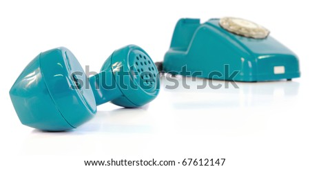 Phone with the taken off handset on a white background. - stock photo