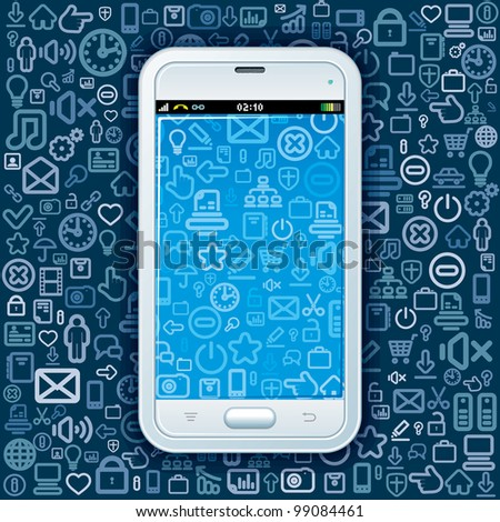 Phone with Web Icons Pattern. Abstract Background