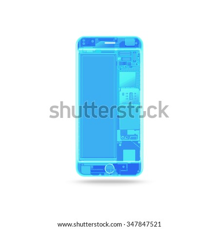 Phone x-ray transparent isolated, chip, motherboard, processor, cpu and details. Smartphone component inside. Cellphone chipset constitution. Telephone scecification. Computer disassembled - stock photo