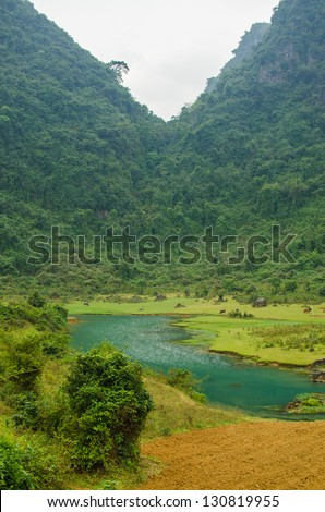 Phong National Park, Vietnam - mountain landscape with river - stock photo