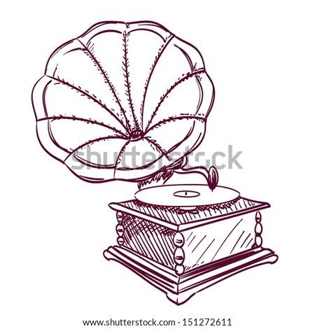 phonograph hand drawn on white - stock photo