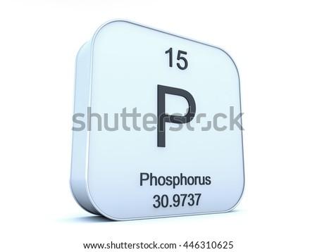 Phosphorus element on white square icon 3D rendering - stock photo