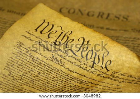 Phot of the US Constitution - We The People - stock photo