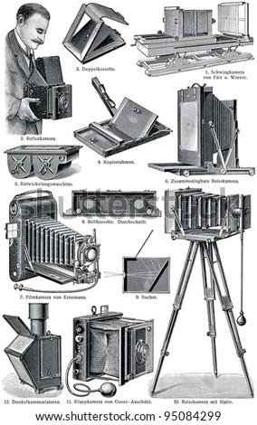 "Photo Accessories. Publication of the book ""Meyers Konversations-Lexikon"", Volume 7, Leipzig, Germany, 1910 - stock photo"