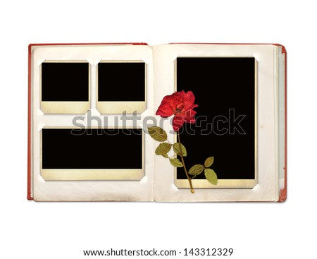 Photo album with retro photos and rose. Object isolated over white