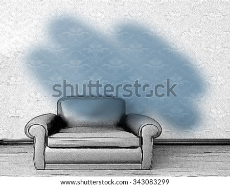 Photo and Drawing  Combination of blue archair  - stock photo