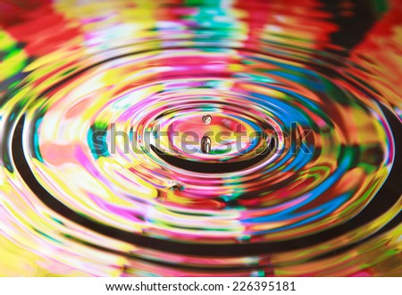 Photo art, Water drop and circles on on the water, colorful background, selective focus - stock photo