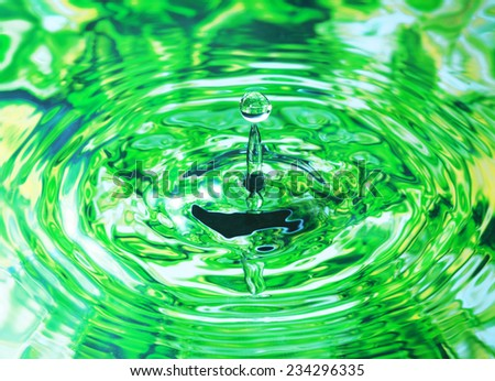 Photo art, Water drop falling into the water, colorful background in green color - stock photo
