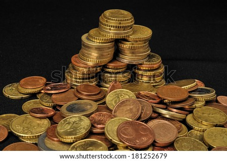 Photo Background Texture With Small Coins Of Different European Countries - stock photo