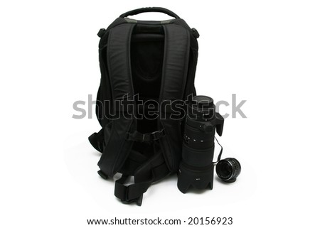 Photo backpack with lens