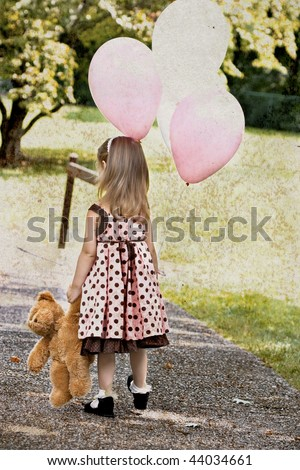 Photo based illustration of a little girl dragging her teddy bear and carrying a bunch of white and pink balloons. - stock photo