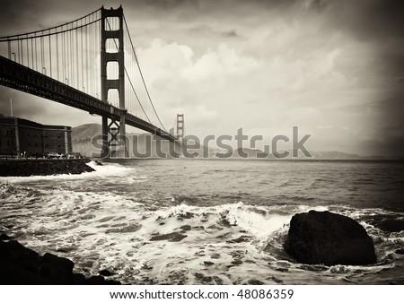 photo beautiful b&w golden gate bridge in san francisco - stock photo