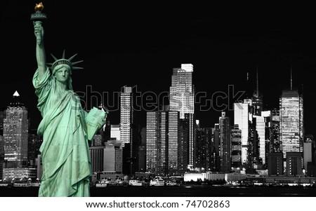 photo beautiful b&w new york cityscape over the hudson - stock photo