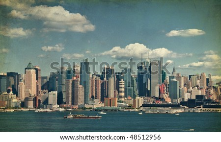 photo beautiful new york cityscape over the hudson grunge
