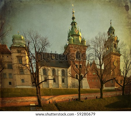 photo beautiful polish grunge architecture from krakow city poland - stock photo