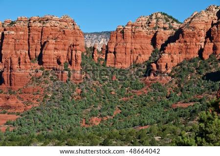 photo beautiful vibrant scenic sandstone mountain range landscape - stock photo