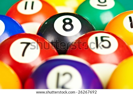 Photo billiard balls close up... - stock photo