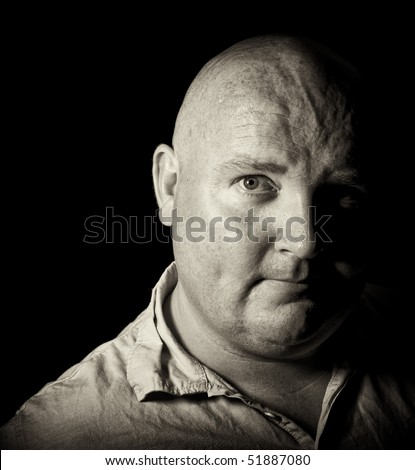 photo black and white middle age male portrait - stock photo