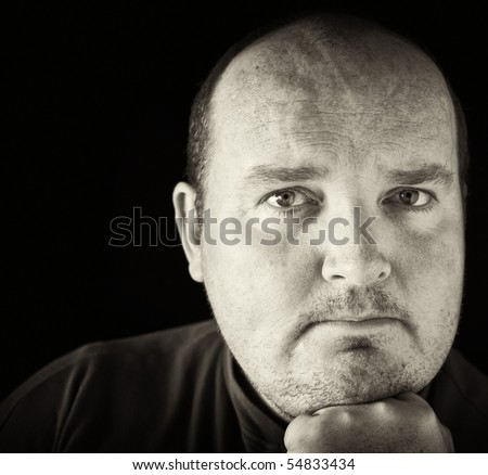 photo black and white of a male in his 30's overweight - stock photo