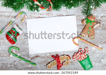 Photo. Blank christmas greeting card with fir tree and decor - stock photo
