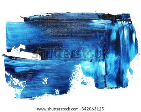photo blue grunge brush strokes oil paint isolated on white background - stock photo