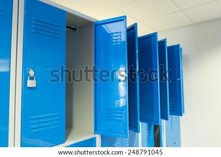 Photo Blue Open Lockers In The Room - stock photo
