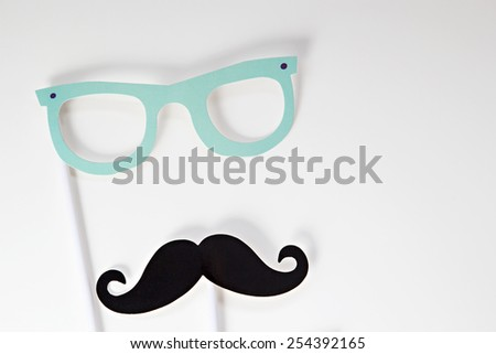 Photo booth props glasses and mustache - stock photo