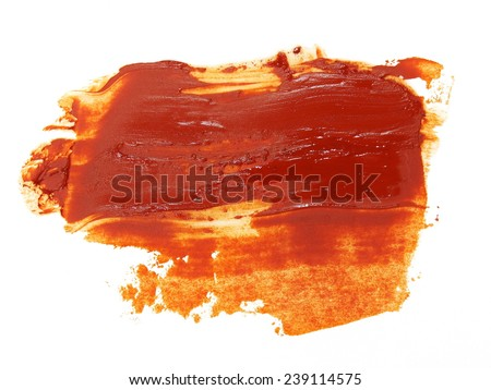 photo brown grunge brush strokes oil paint isolated on white background - stock photo
