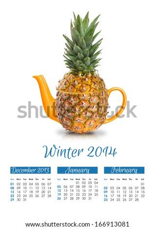 Photo calendar with concept pineapple teapot. Winter 2014. - stock photo