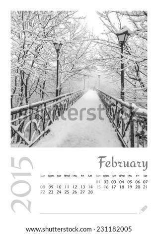 Photo calendar with minimalist cityscape and bridge 2015. February - stock photo