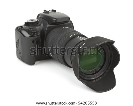 Photo camera and blind isolated on white background - stock photo
