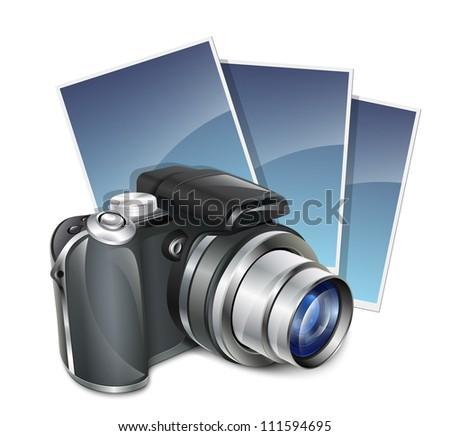 Photo camera and photos - stock photo