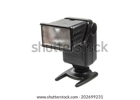 Photo camera flash on white background.