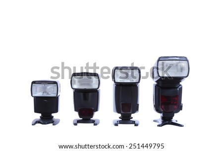 Photo camera flashes isolated on white - stock photo