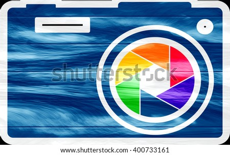 Photo camera icon. Outline silhouette with rainbow colors lens aperture, Grunge textured - stock photo