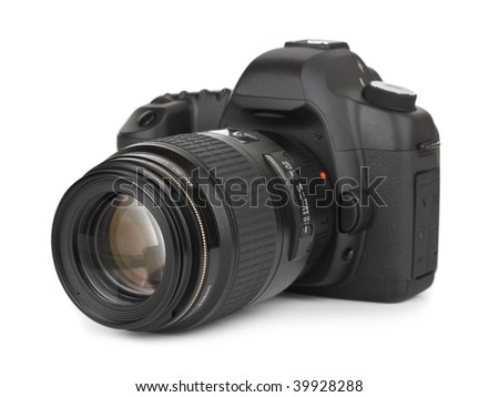 Photo camera isolated on white background - stock photo