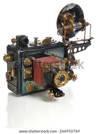 Photo camera on a white background. Style Steampunk. - stock photo