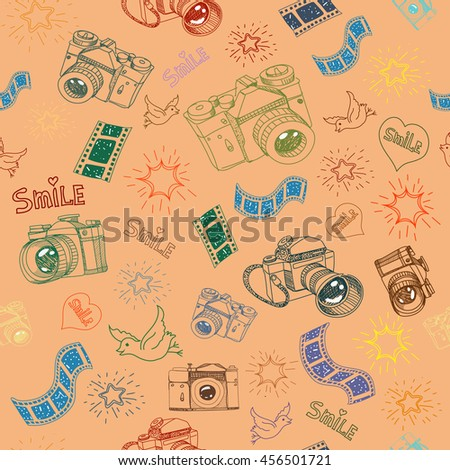 Photo camera or film sign and symbol doodles hand drawn seamless pattern - stock photo