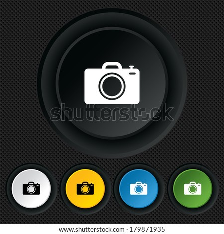 Photo camera sign icon. Digital photo camera symbol. Round colourful buttons on black texture.