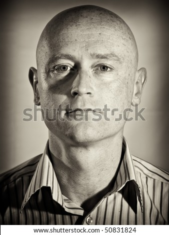 photo capture b&w male portrait wearing shirt - stock photo