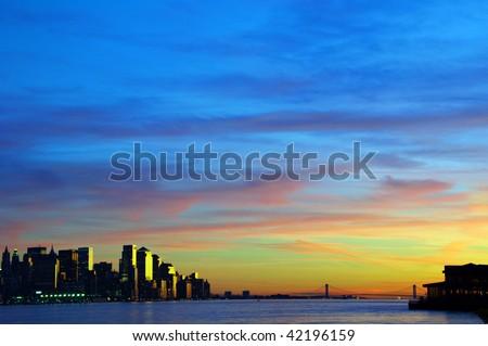 photo capture new york cityscape skyline, usa - stock photo