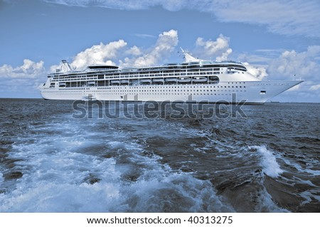 photo capture of a luxury cruise ship, two tone.