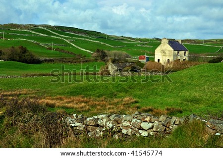 photo capture of a rural farm house in ireland - stock photo