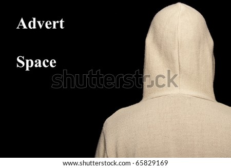 photo capture of male with hoodie on black - stock photo