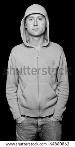 photo capture of male with hoodie staring out - stock photo