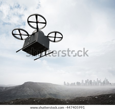 Photo Carbon Material Generic Design Remote Control Air Drone Flying Blank Black Box Under Earth Surface.Modern City Background.Global Logistic Express Delivery.Square,Bottom Angle View.3D rendering - stock photo