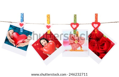 Photo cards hanging on the clothesline isolated on white, Valentine's Day concept - stock photo